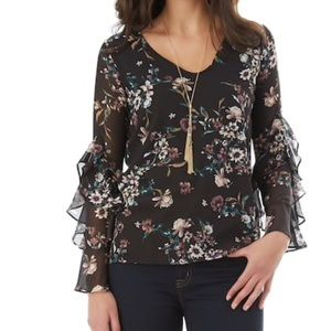 w/TAGs RUFFLED Sleeve FLORAL TOP Blouse